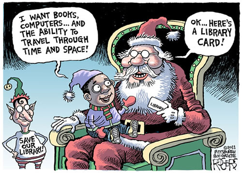 library card cartoon by Rob Rogers